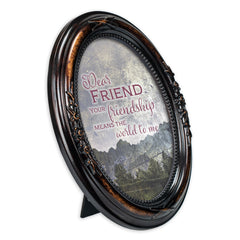 Dear Friend Burlwood Finish Floral 5 x 7 Oval Table and Wall Photo Frame