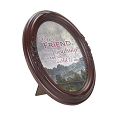 Dear Friend Mahogany Finish Floral 5 x 7 Oval Table and Wall Photo Frame