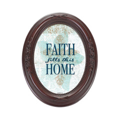 Faith Fills This Home Mahogany Finish Floral 5 x 7 Oval Table and Wall Photo Frame