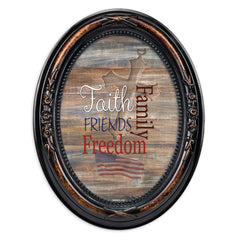 Faith Family Freedom Burlwood Finish Floral 5 x 7 Oval Table and Wall Photo Frame
