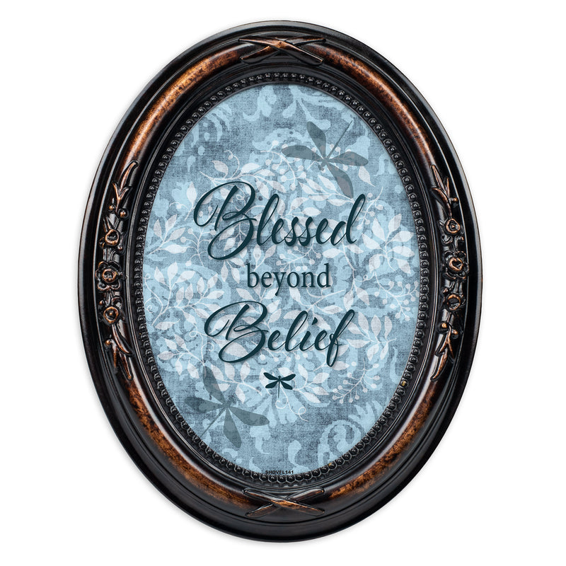 Blessed Beyond Belief Burlwood Finish Floral 5 x 7 Oval Table and Wall Photo Frame