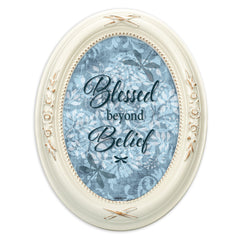 Blessed Beyond Belief Distressed Ivory Floral 5 x 7 Oval Table and Wall Photo Frame