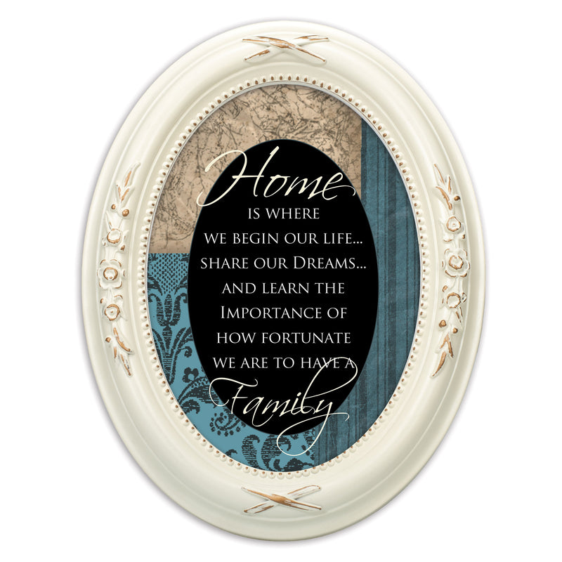 Home Is Where We Begin Life Distressed Ivory Floral 5 x 7 Oval Table and Wall Photo Frame
