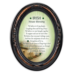 Irish House Blessings Failte! Burlwood Finish Floral 5 x 7 Oval Table and Wall Photo Frame