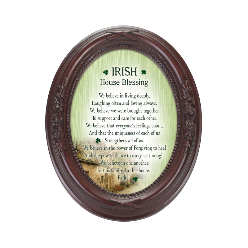 Irish House Blessings Failte! Mahogany Finish Floral 5 x 7 Oval Table and Wall Photo Frame
