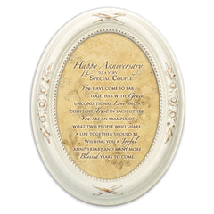 Happy Anniversary Special Couple Distressed Ivory Floral 5 x 7 Oval Table and Wall Photo Frame