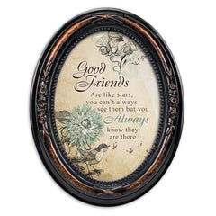 Good Friends Are Like Stars Burlwood Finish Floral 5 x 7 Oval Table and Wall Photo Frame