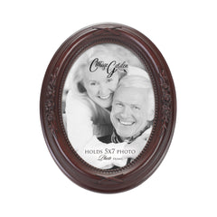 Add Your Own Personal Photo Mahogany Finish Floral 5 x 7 Oval Table and Wall Photo Frame