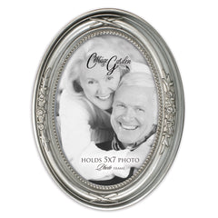 Add Your Own Personal Photo Brushed Silver Floral 5 x 7 Oval Table and Wall Photo Frame