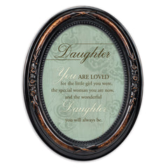 Daughter You Are Loved Burlwood Finish Floral 5 x 7 Oval Table and Wall Photo Frame