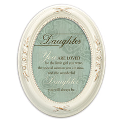 Daughter You Are Loved Distressed Ivory Floral 5 x 7 Oval Table and Wall Photo Frame