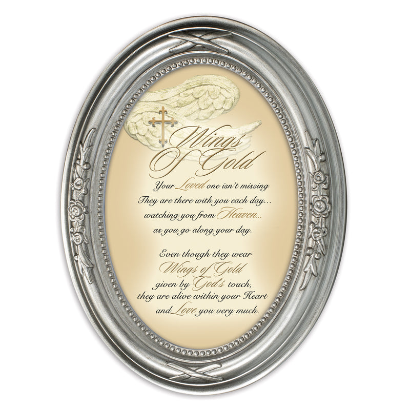 Wings Of Gold Loved One Brushed Silver Floral 5 x 7 Oval Table and Wall Photo Frame