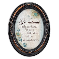 Grandmas Hold Hands Hearts Burlwood Finish Floral 5 x 7 Oval Table and Wall Photo Frame