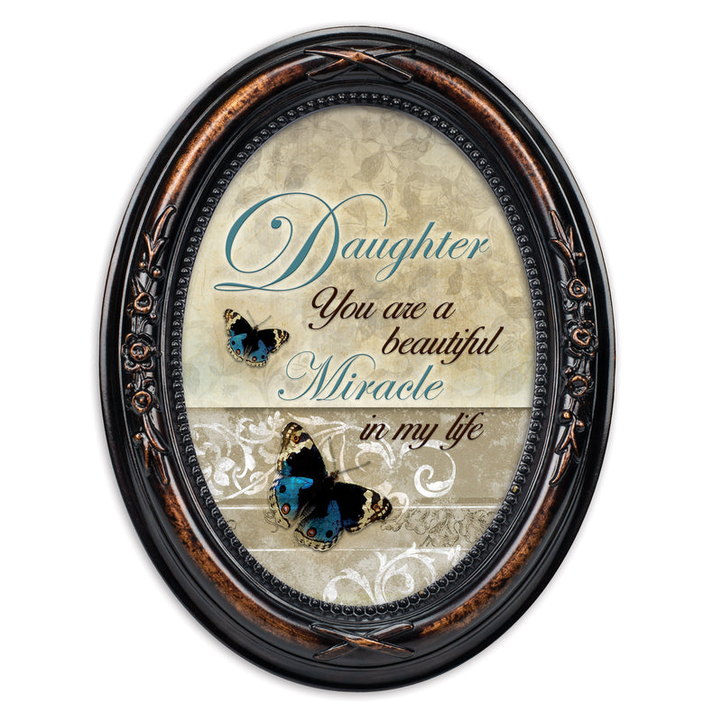 Daughter Beautiful Miracle Burlwood Finish Floral 5 x 7 Oval Table and Wall Photo Frame