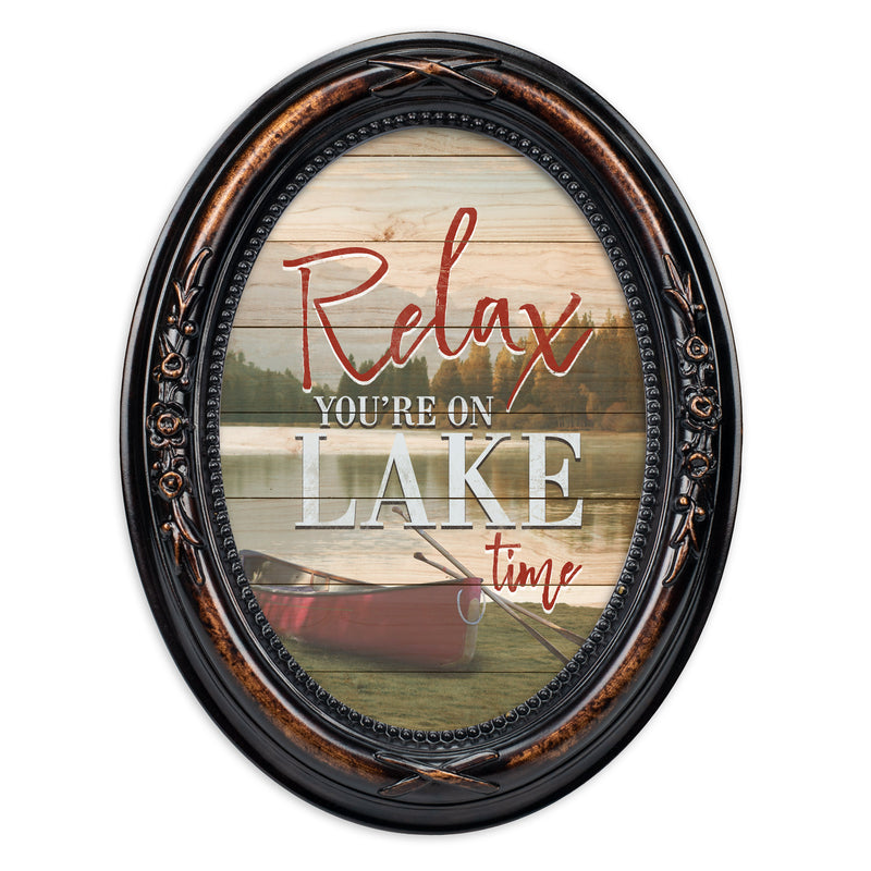 Relax, You're On Lake Time Burlwood Finish Floral 5 x 7 Oval Table and Wall Photo Frame