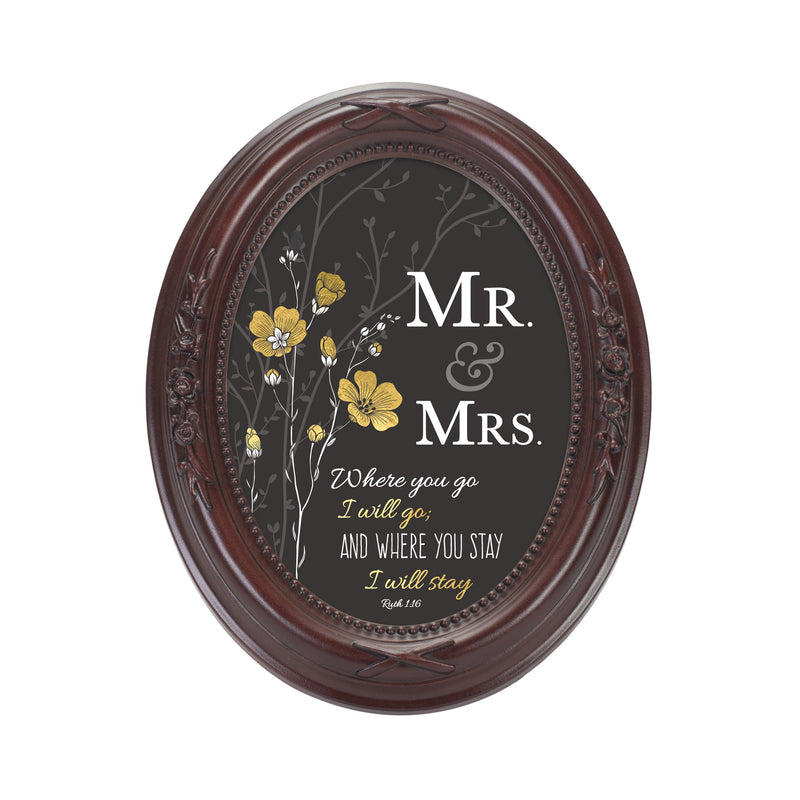 Mr. & Mrs. You Stay Inspirational Mahogany Finish Floral 5 x 7 Oval Table and Wall Photo Frame