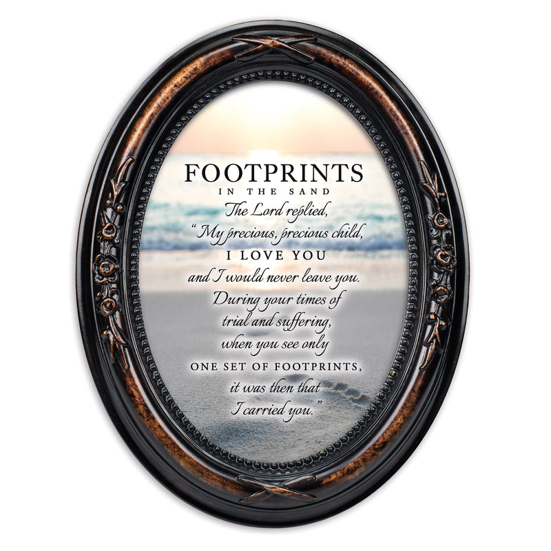 Footprints In The Sand Burlwood Finish Floral 5 x 7 Oval Table and Wall Photo Frame
