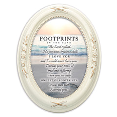 Footprints In The Sand Distressed Ivory Floral 5 x 7 Oval Table and Wall Photo Frame