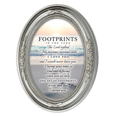 Footprints In The Sand Brushed Silver Floral 5 x 7 Oval Table and Wall Photo Frame