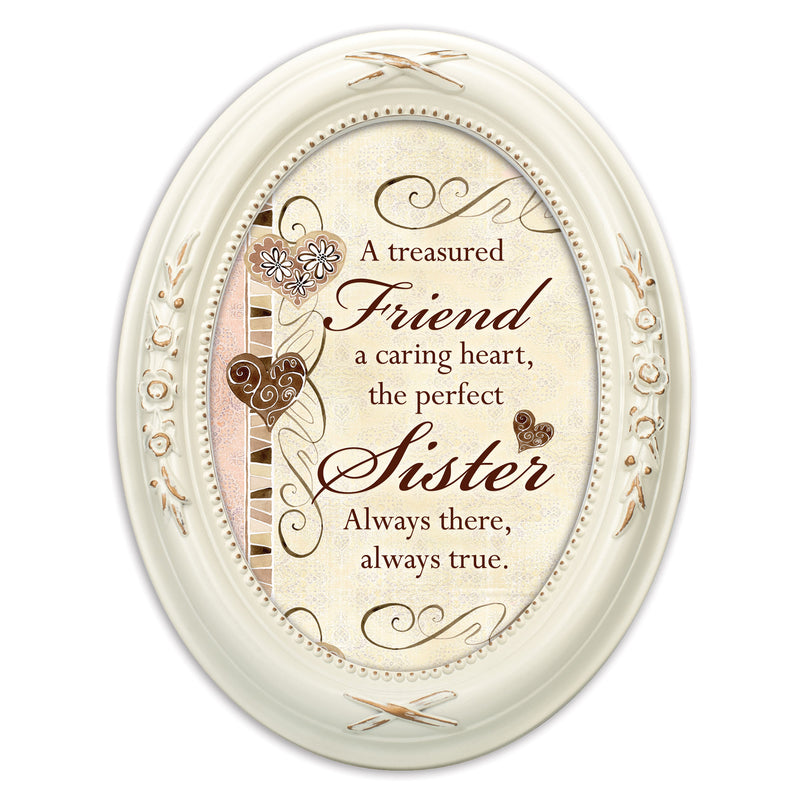 Treasured Friend Caring Heart Distressed Ivory Floral 5 x 7 Oval Table and Wall Photo Frame