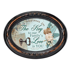 Key To Family's Love Inspirational Burlwood Finish Floral 5 x 7 Oval Table and Wall Photo Frame
