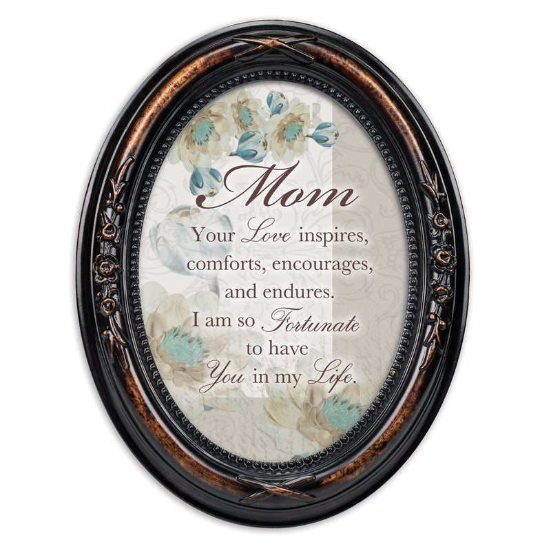 Mom Inspires Comforts Encourages Burlwood Finish Floral 5 x 7 Oval Table and Wall Photo Frame