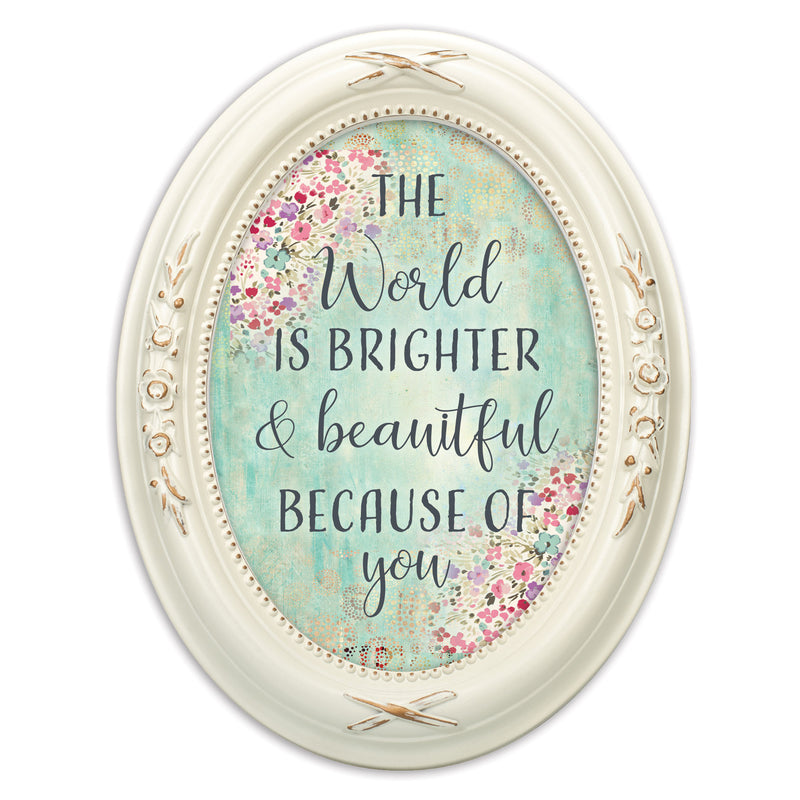 You Make The World Bright Distressed Ivory Floral 5 x 7 Oval Table Top and Wall Photo Frame