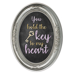 The Key To My Heart Brushed Silver Floral 5 x 7 Oval Table Top and Wall Photo Frame