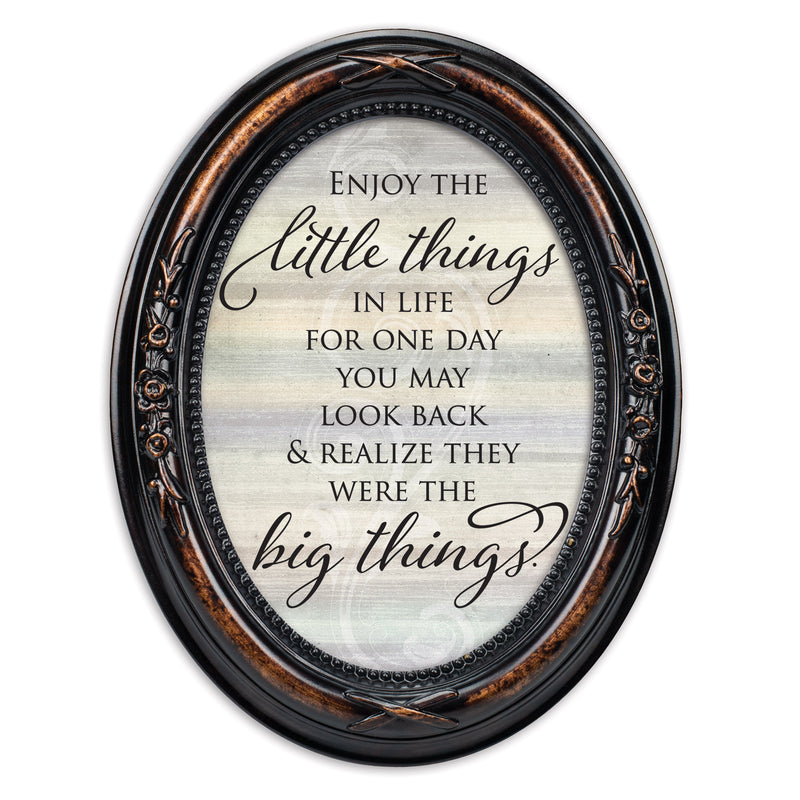 Enjoy The Little Things In Life Burlwood Finish Floral 5 x 7 Oval Table Top and Wall Photo Frame