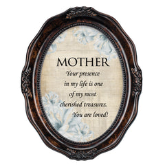 Mother You Are Loved Burlwood Finish Wavy 5 x 7 Oval Table Top and Wall Photo Frame