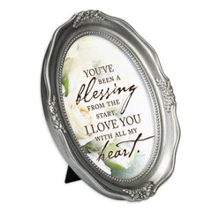 With All My Heart Brushed Silver Wavy 5 x 7 Oval Table and Wall Photo Frame