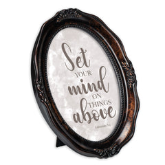 Set Your Mind Above Burlwood Finish Wavy 5 x 7 Oval Table and Wall Photo Frame