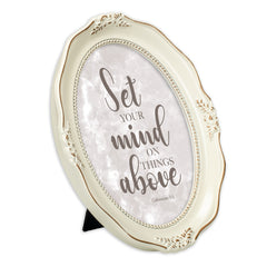Set Your Mind Above Distressed Ivory Wavy 5 x 7 Oval Table and Wall Photo Frame
