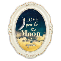 I Love You To The Moon And Back Distressed Ivory Wavy 5 x 7 Oval Table and Wall Photo Frame