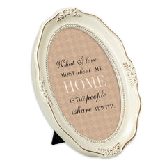 Love My Home Distressed Ivory Wavy 5 x 7 Oval Table and Wall Photo Frame