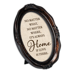 Always Home Burlwood Finish Wavy 5 x 7 Oval Table and Wall Photo Frame