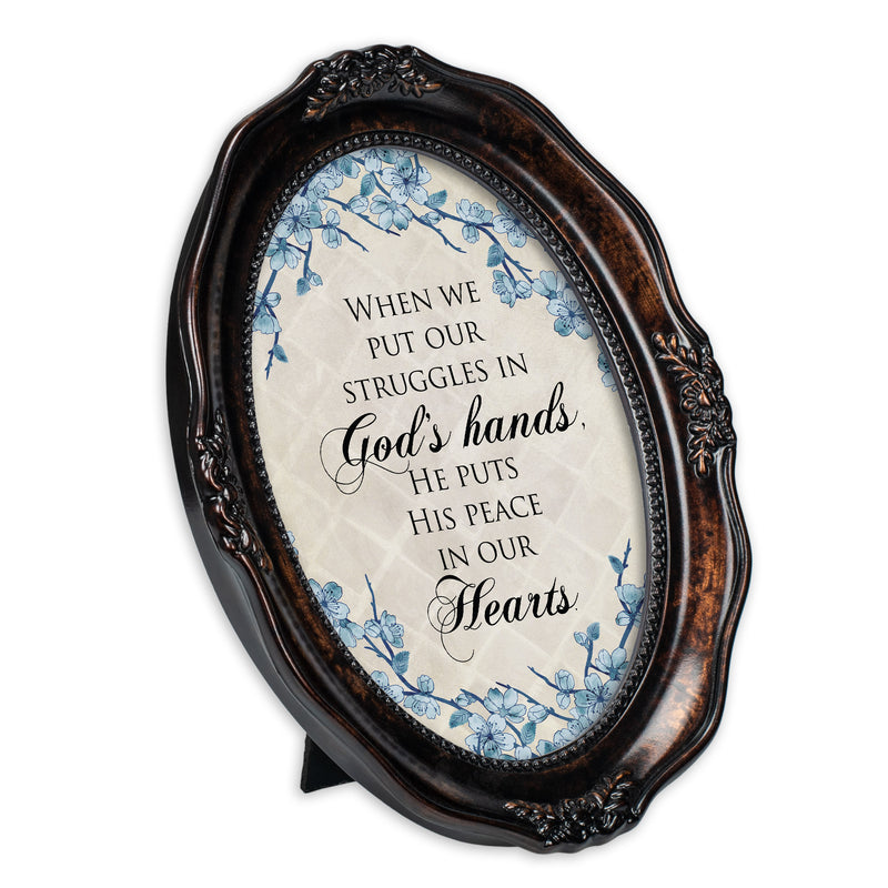 He Gives Peace Burlwood Finish Wavy 5 x 7 Oval Table and Wall Photo Frame