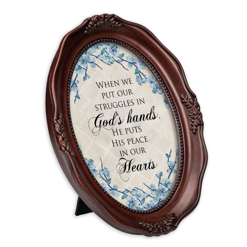He Gives Peace Mahogany Finish Wavy 5 x 7 Oval Table and Wall Photo Frame