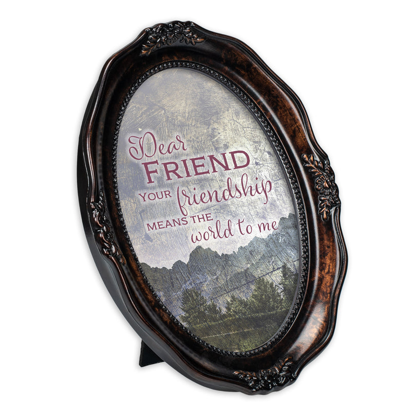 Dear Friend Burlwood Finish Wavy 5 x 7 Oval Table and Wall Photo Frame