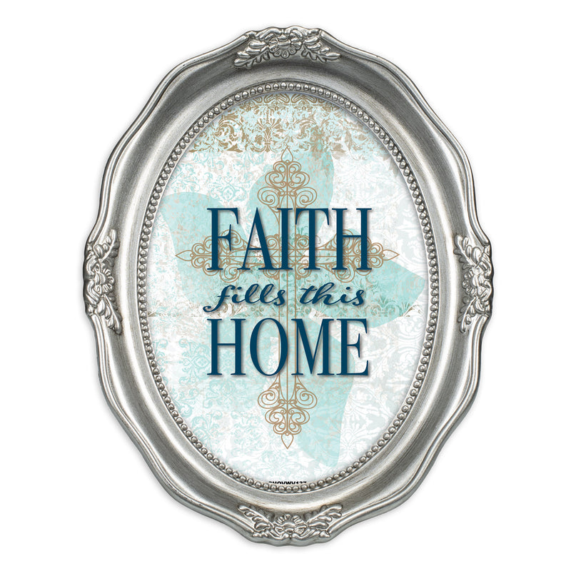 Faith Fills This Home Brushed Silver Wavy 5 x 7 Oval Table and Wall Photo Frame