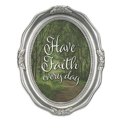 Faith Every Day Brushed Silver Wavy 5 x 7 Oval Table and Wall Photo Frame