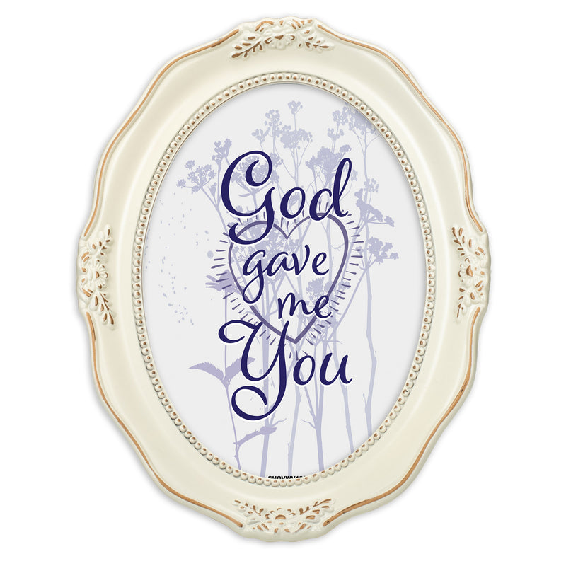 He Gave Me You Distressed Ivory Wavy 5 x 7 Oval Table and Wall Photo Frame