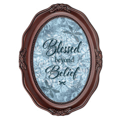 Blessed Beyond Belief Mahogany Finish Wavy 5 x 7 Oval Table and Wall Photo Frame