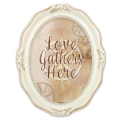 Love Gathers Here Distressed Ivory Wavy 5 x 7 Oval Table and Wall Photo Frame