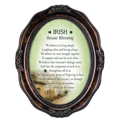 Irish House Blessings Failte! Burlwood Finish Wavy 5 x 7 Oval Table and Wall Photo Frame