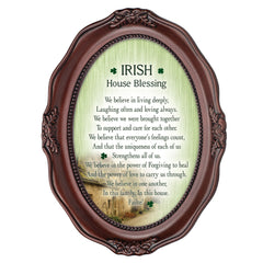 Irish House Blessings Failte! Mahogany Finish Wavy 5 x 7 Oval Table and Wall Photo Frame