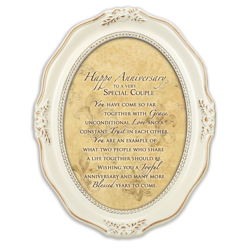 Happy Anniversary Special Couple Distressed Ivory Wavy 5 x 7 Oval Table and Wall Photo Frame