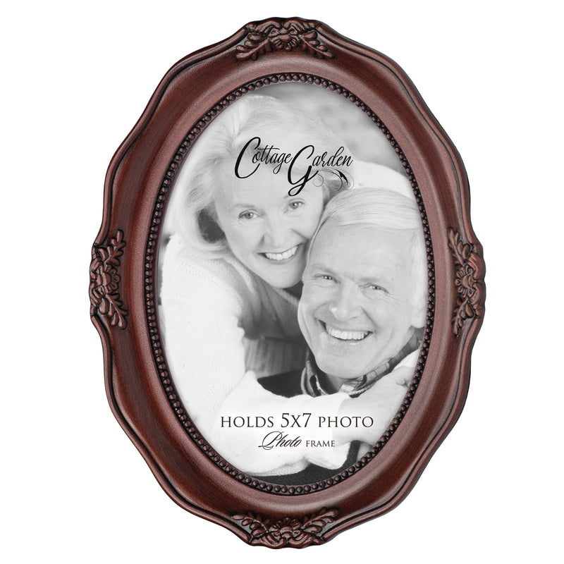 Add Your Own Personal Photo Mahogany Finish Wavy 5 x 7 Oval Table and Wall Photo Frame