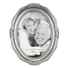 Add Your Own Personal Photo Brushed Silver Wavy 5 x 7 Oval Table and Wall Photo Frame