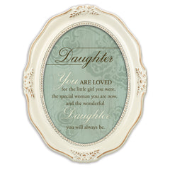 Daughter You Are Loved Distressed Ivory Wavy 5 x 7 Oval Table and Wall Photo Frame
